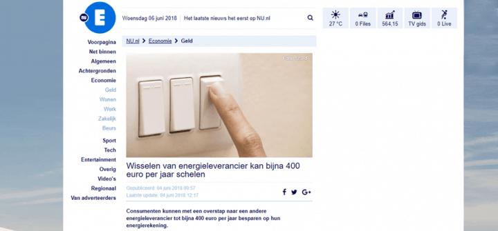 NU.nl: wisselen van energieleverancier kan bijna € 400,- per jaar schelen