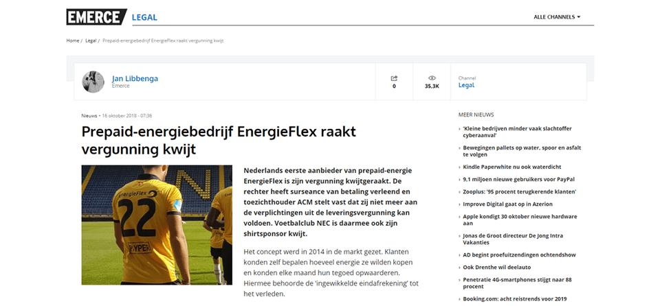EnergieFlex raakt leveringsvergunning ACM kwijt